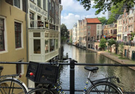 Utrecht view from a bridge with bicycle